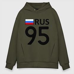 Толстовка оверсайз мужская RUS 95 цвета хаки — фото 1