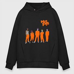Толстовка оверсайз мужская Misfits Orange цвета черный — фото 1
