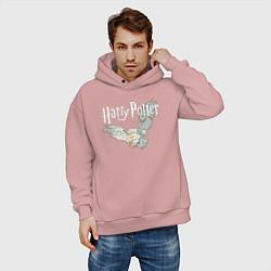 Толстовка оверсайз мужская Гарри Поттер: Букля цвета пыльно-розовый — фото 2