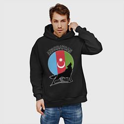 Толстовка оверсайз мужская Азербайджан цвета черный — фото 2