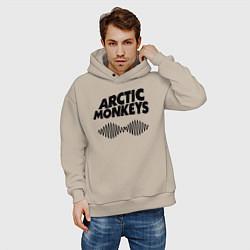 Толстовка оверсайз мужская Arctic Monkeys цвета миндальный — фото 2