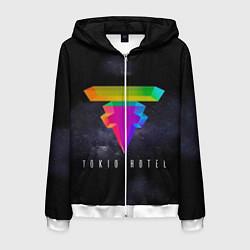 Толстовка 3D на молнии мужская Tokio Hotel: New Symbol цвета 3D-белый — фото 1