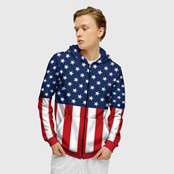 Толстовка 3D на молнии мужская Флаг США цвета 3D-красный — фото 2
