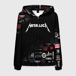 Толстовка 3D на молнии мужская Metallica цвета 3D-черный — фото 1
