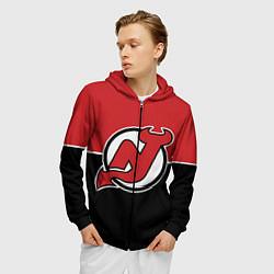 Толстовка 3D на молнии мужская New Jersey Devils цвета 3D-черный — фото 2