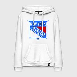 Толстовка-худи хлопковая мужская New York Rangers цвета белый — фото 1