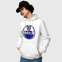 Толстовка-худи хлопковая мужская Edmonton Oilers цвета белый — фото 2