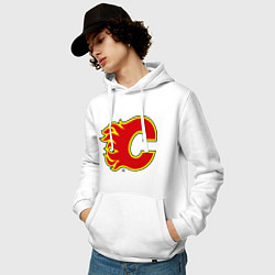 Толстовка-худи хлопковая мужская Calgary Flames цвета белый — фото 2