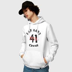 Толстовка-худи хлопковая мужская Far East 41 Crew цвета белый — фото 2