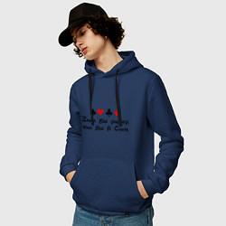 Толстовка-худи хлопковая мужская Знал бы ривер цвета тёмно-синий — фото 2