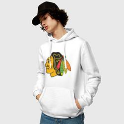 Толстовка-худи хлопковая мужская Chicago Blackhawks: Kane цвета белый — фото 2