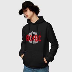 Толстовка-худи хлопковая мужская AC/DC: Angus Young цвета черный — фото 2