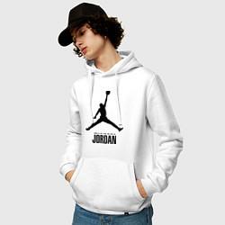 Толстовка-худи хлопковая мужская Jordan Style цвета белый — фото 2