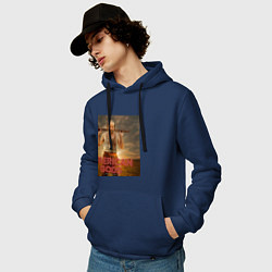 Толстовка-худи хлопковая мужская American Gods: Czernobog цвета тёмно-синий — фото 2