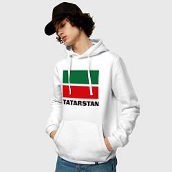 Толстовка-худи хлопковая мужская Флаг Татарстана цвета белый — фото 2
