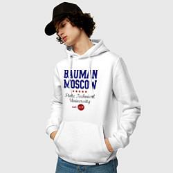 Толстовка-худи хлопковая мужская Bauman STU цвета белый — фото 2