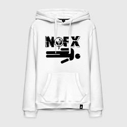 Толстовка-худи хлопковая мужская NOFX crushman цвета белый — фото 1