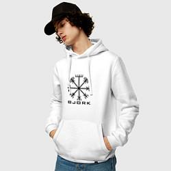 Толстовка-худи хлопковая мужская Bjork Rune цвета белый — фото 2