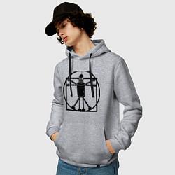 Толстовка-худи хлопковая мужская Bender da Vinchi цвета меланж — фото 2