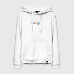 Толстовка-худи хлопковая мужская Google цвета белый — фото 1