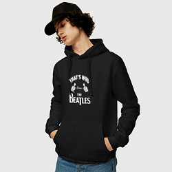 Толстовка-худи хлопковая мужская That's Who Loves The Beatles цвета черный — фото 2