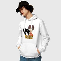 Толстовка-худи хлопковая мужская Misfits: Nathan Young цвета белый — фото 2