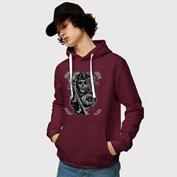Толстовка-худи хлопковая мужская Sons of Anarchy: Redwood Original цвета меланж-бордовый — фото 2
