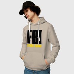 Толстовка-худи хлопковая мужская FBI: Cyber Crime цвета миндальный — фото 2