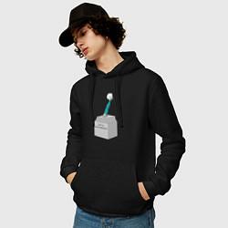 Толстовка-худи хлопковая мужская Нога Акинфеева цвета черный — фото 2