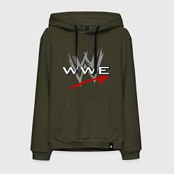 Толстовка-худи хлопковая мужская WWE Fight цвета хаки — фото 1