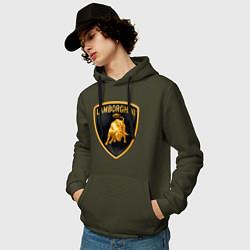 Толстовка-худи хлопковая мужская Lamborghini logo цвета хаки — фото 2