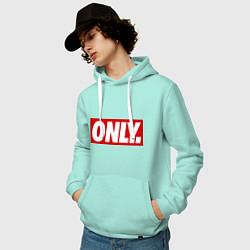 Толстовка-худи хлопковая мужская Only Obey цвета мятный — фото 2