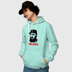Толстовка-худи хлопковая мужская Fidel Castro цвета мятный — фото 2