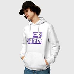 Толстовка-худи хлопковая мужская Twitch Gamer цвета белый — фото 2