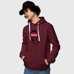 Толстовка-худи хлопковая мужская Timati Supreme цвета меланж-бордовый — фото 2