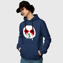 Толстовка-худи хлопковая мужская J-Dog цвета тёмно-синий — фото 2