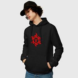Толстовка-худи хлопковая мужская Символ Велеса цвета черный — фото 2