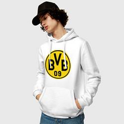 Толстовка-худи хлопковая мужская BVB 09 цвета белый — фото 2
