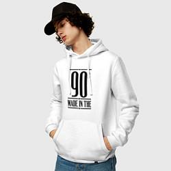 Толстовка-худи хлопковая мужская Made in the 90s цвета белый — фото 2