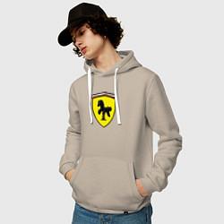 Толстовка-худи хлопковая мужская Ferrari Baby цвета миндальный — фото 2