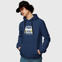 Толстовка-худи хлопковая мужская Жигули 2107 цвета тёмно-синий — фото 2