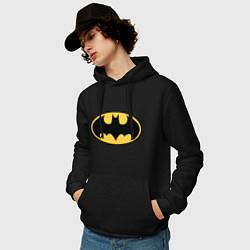 Толстовка-худи хлопковая мужская Batman цвета черный — фото 2