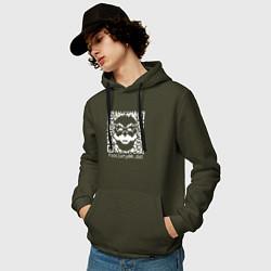 Толстовка-худи хлопковая мужская MRROBOT цвета хаки — фото 2