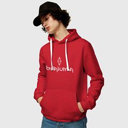 Толстовка-худи хлопковая мужская Шаломба -Коллекция HG цвета красный — фото 2
