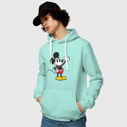 Толстовка-худи хлопковая мужская Микки Маус цвета мятный — фото 2