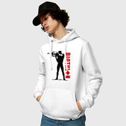 Толстовка-худи хлопковая мужская Биатлон цвета белый — фото 2