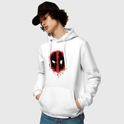Толстовка-худи хлопковая мужская Deadpool logo цвета белый — фото 2