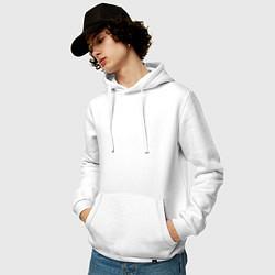 Толстовка-худи хлопковая мужская Времени на раскачку нет цвета белый — фото 2