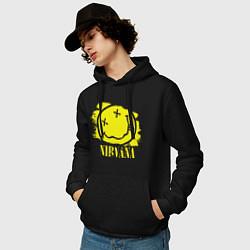 Толстовка-худи хлопковая мужская Nirvana Smile цвета черный — фото 2