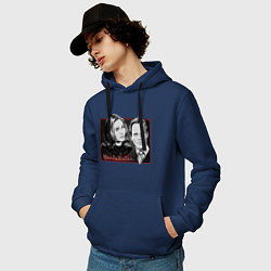 Толстовка-худи хлопковая мужская ВандаВижен цвета тёмно-синий — фото 2